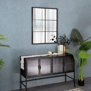 Wholesale Designer Rectangle Black Iron Frame Mirrors Decorative Wall 34776R