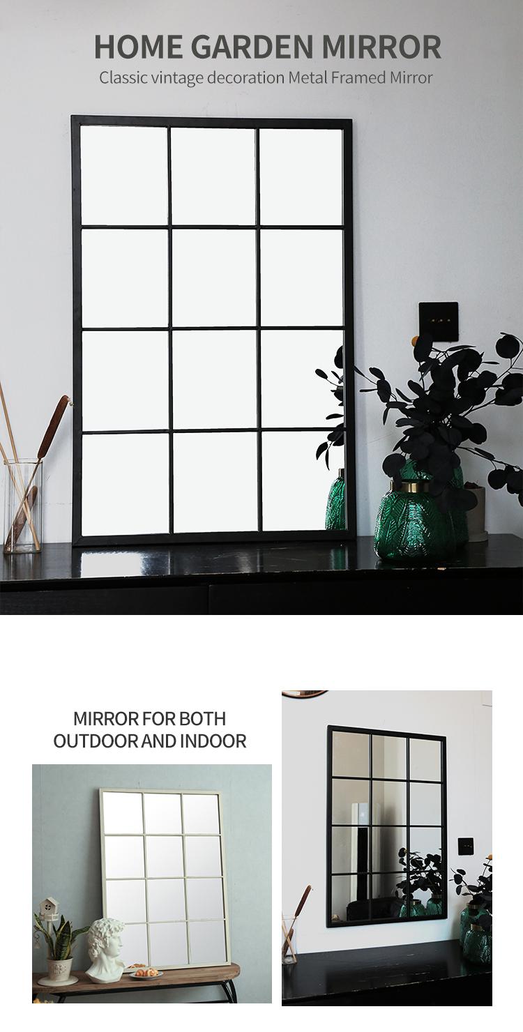 Rectangle Black Metal Frame Decorative Floor Standing Mirrors 36070
