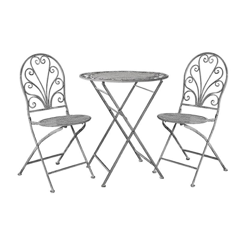 Antique Grey Metal Patio Folding Dining set 8081-8082