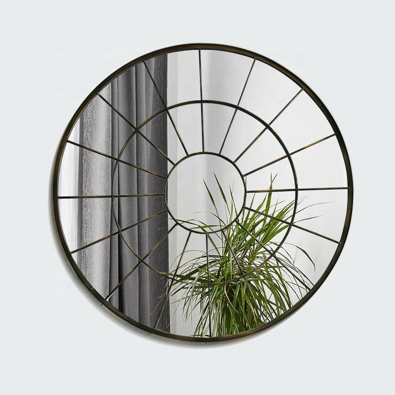 Antique Metal Circle Frame Home Decorative Outdoor Garden Round Mirror