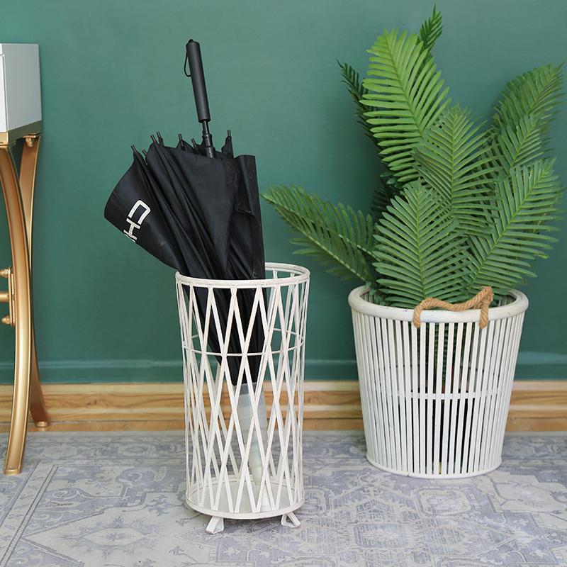 Antique White Metal Mesh Umbrella Rack Stand Holder Home, Office Decoration Rack Holds Umbrellas Canes Walking Stick 7950