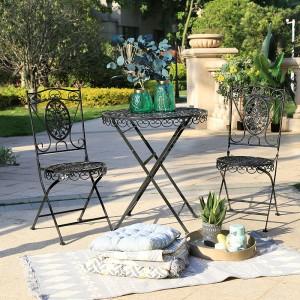 Antique Wrought Iron Outdoor Furniture Patio Garden Set Portable Table and Chair 6804