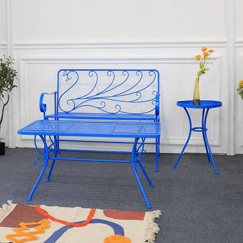 Blue Design Peacock Rustproof Wrought Iron Garden Patio Benches_2