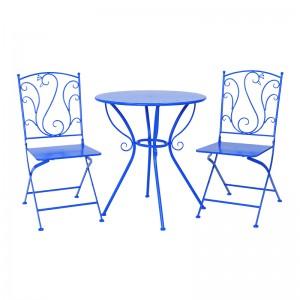 Custom Blue Peacock Metal Folding Garden Outdoor Furniture Bistro Patio Set 38894 38895