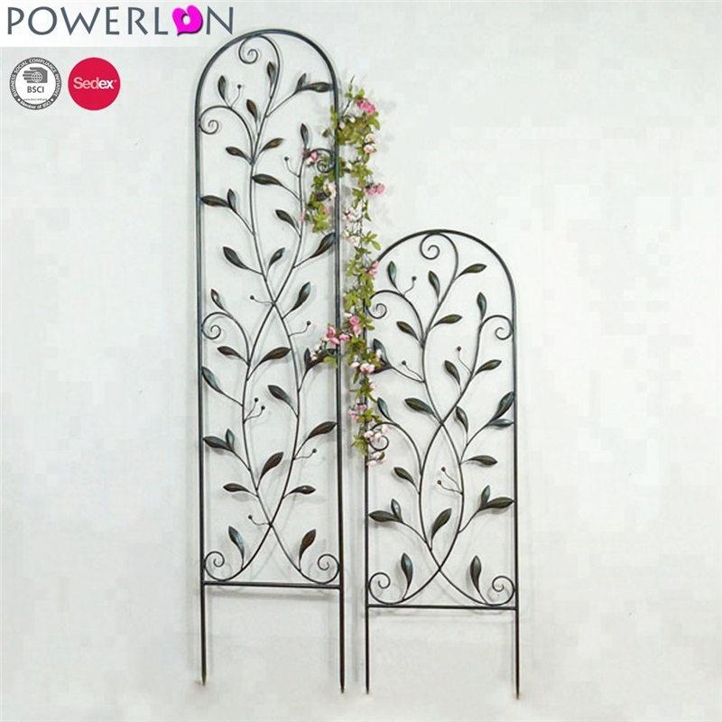 Classic decorative wrought iron black flower trellis