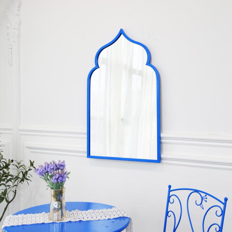 Designer Home Decoration Metal Blue Arched Window Framed Wall Mirror_04