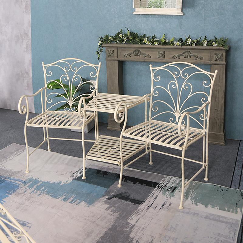 Folding Antique Wrought Iron Metal Outdoor Garden table set with Armchair 36283