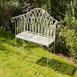 Garden Bench Seat Chair Metal Gothic Outdoor Patio Wrought Iron Vintage 8671