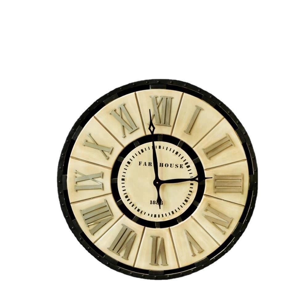Gold Black Shabby Chic Metal Home Decorative Wall Retro Clock 35461