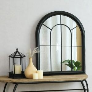 Iron Home Deco Wall mirror Antique White Black Framed 80255