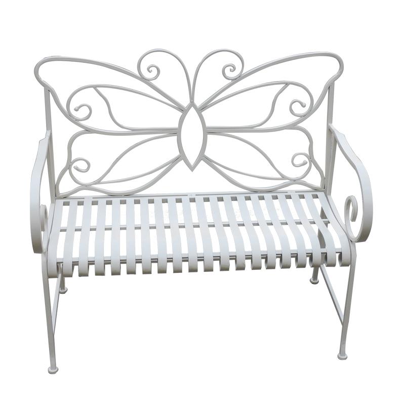 KD Folding Antique White Butterfly Shape Metal Patio Foldable Waterproof Bench_01