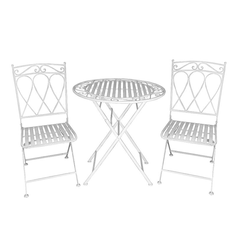 Outdoor Garden Metal 3 pcs Patio Dining Furniture Table Set 38470 38471