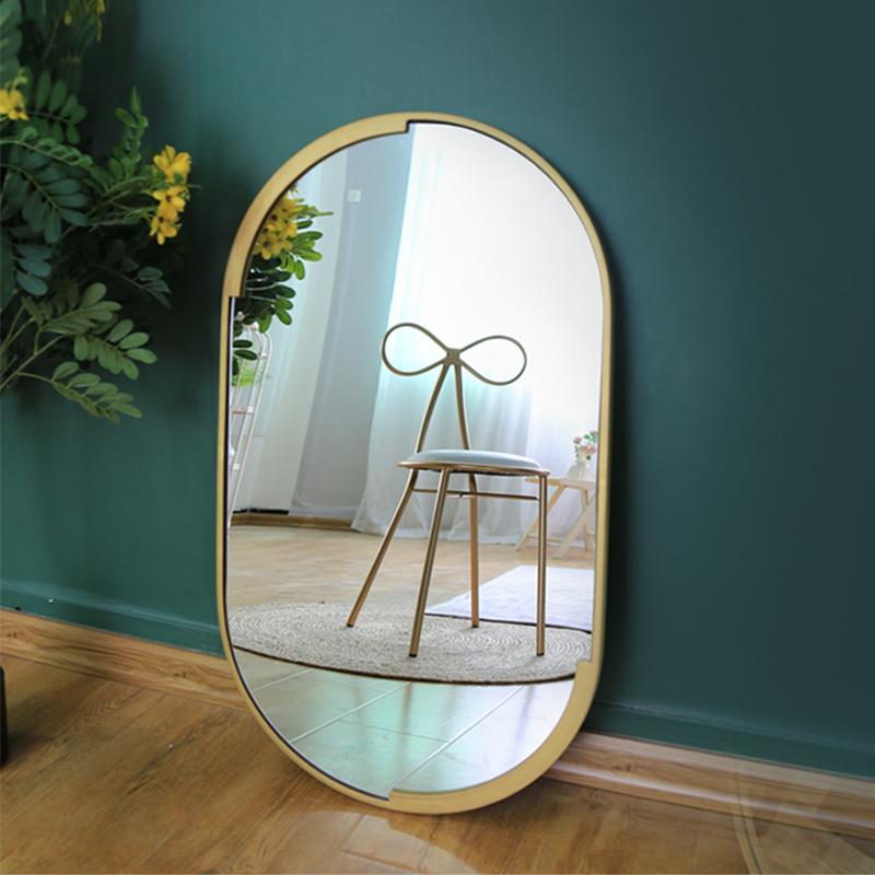 Oval Metal Frame Mirrors Glass Wall Decorative Gold Bathroom Mirrors Crafts espejos_01