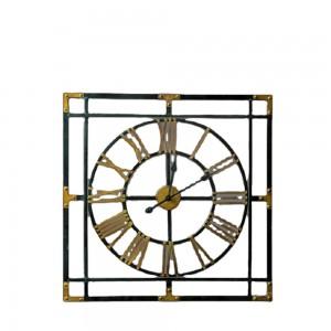 Hot Sale Square Wall Clock Retro Design Black Gold drawing Clock Metal Decorative 35470