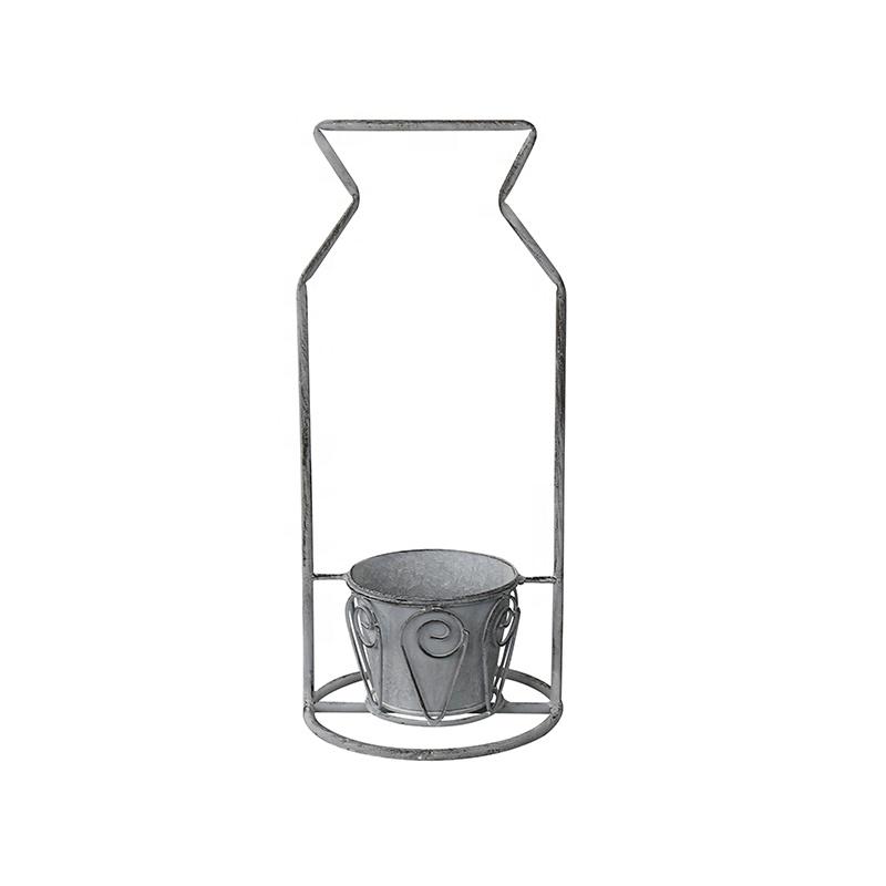 Stone Grey Iron Planter Stand Metal Flower Pots_01