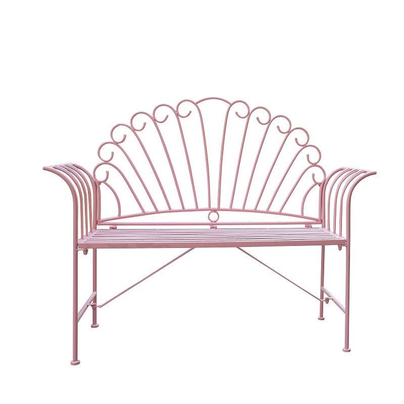 Wrought Iron Garden Outdoor Pink Bench Patio Benches 38438