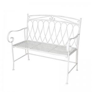 China Wholesale Outdoor Bench Seat Factories - Wrought Iron Metal Benches Teak Garden Outdoor Patio Bistro Set bench Seat – Powerlon