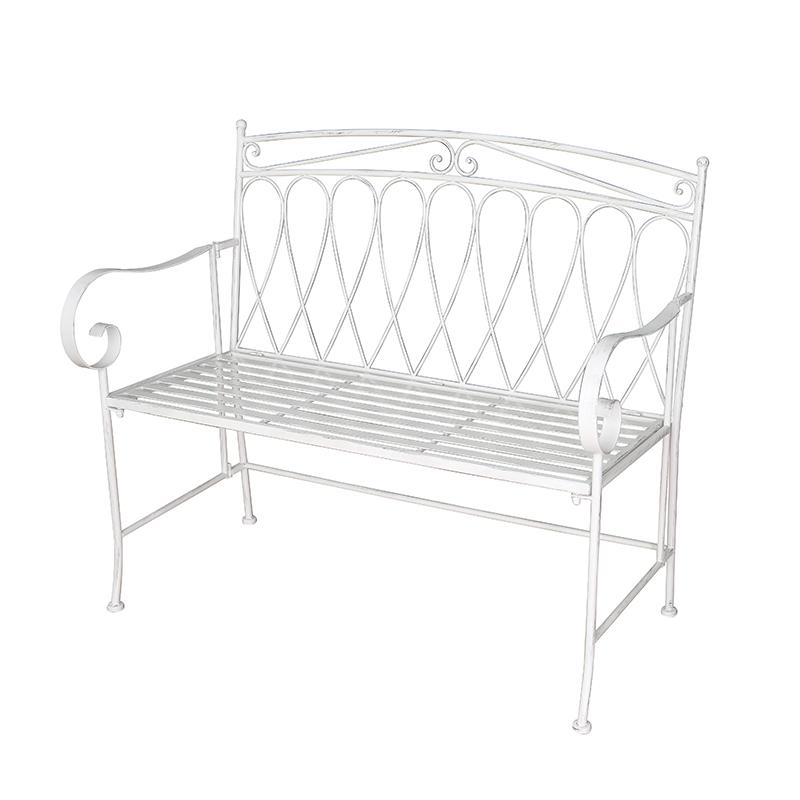 Wrought Iron Outdoor Patio Garden Bench Antique White Decorative Patio Benches Sets 38474